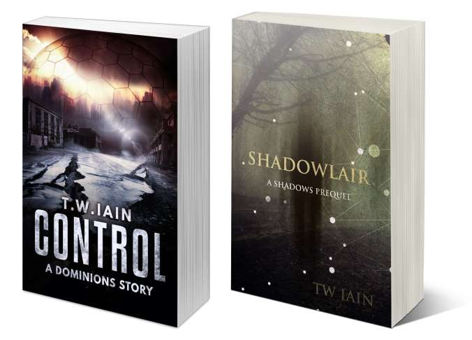 Covers of 'Control' and 'Shadowlair', two free novellas available when you sign up to my newsletter